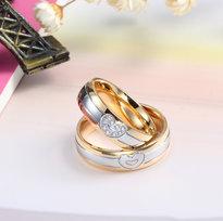 Vacker Hjärt Design 18k Guldpläterad Ring Med eller Utan Cubic Zirconia Stenar
