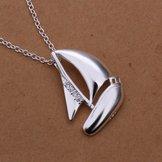 Segelbåt Silverpläterad Halsband