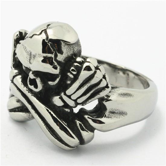 Smycken Fint och Billigt Mean Ghost Skull 316L Rostfritt Stål Ring